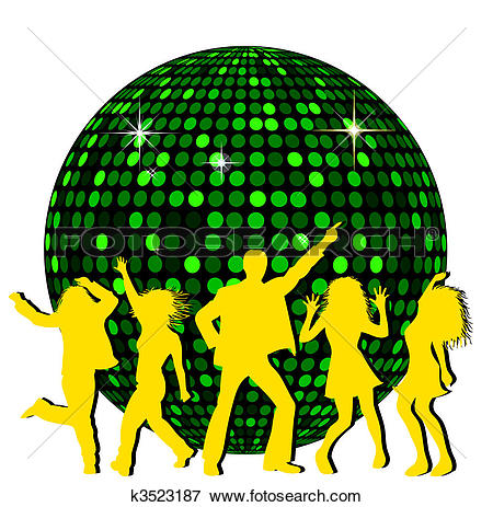 Stock Illustration of Disco Ball and dancing People k3523186.