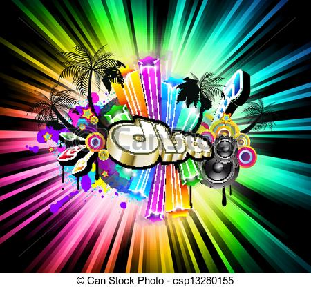 Clipart Vector of High Tech Music Disco Background with glowing.