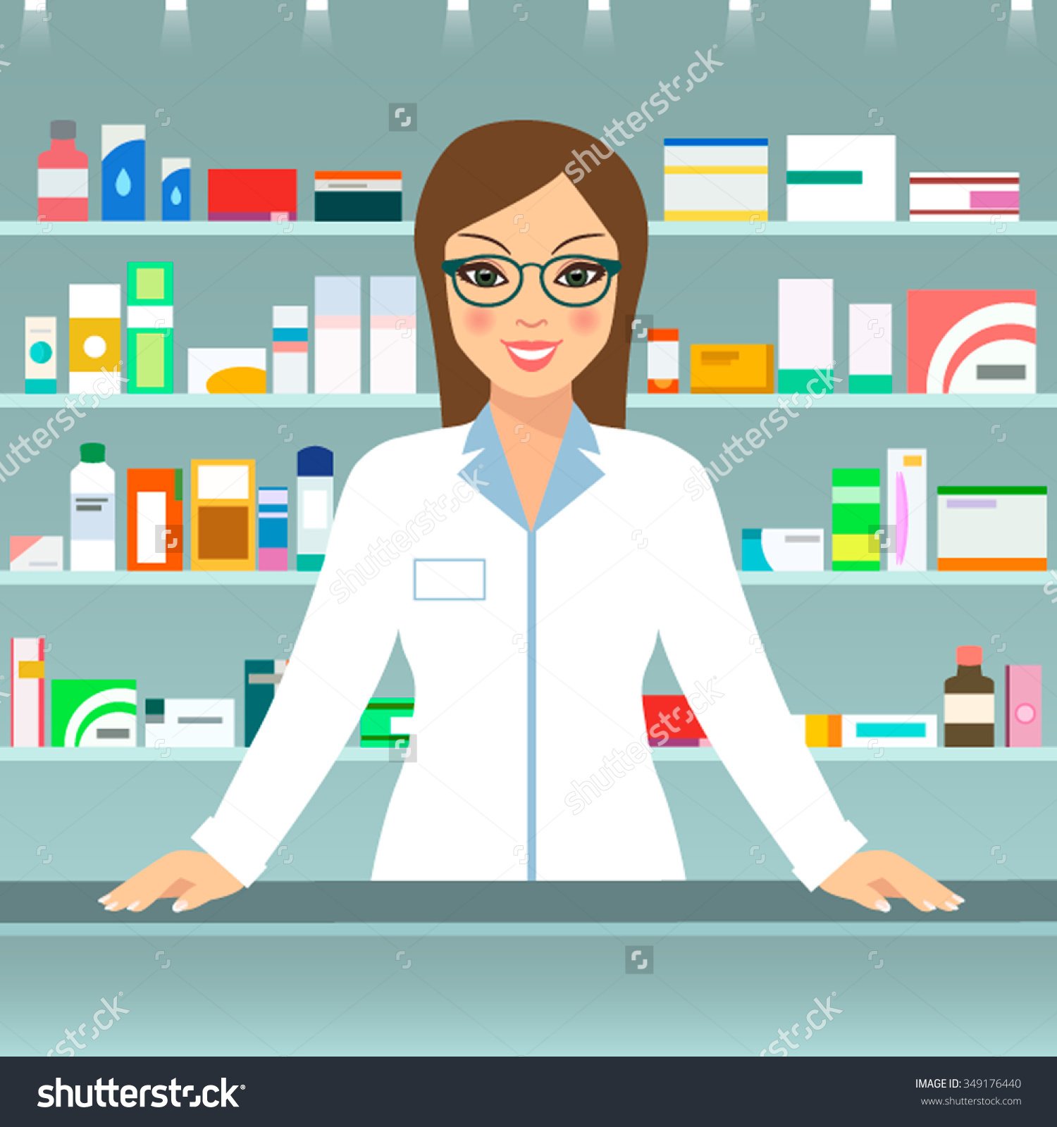 Modern Illustration Smiling Female Pharmacist Counter Stock Vector.