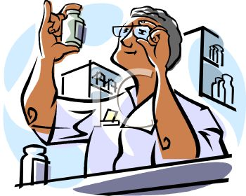 Royalty Free Clip Art Image: Pharmacist Reading the Label on a.