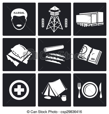 Vector Clip Art of Camp for displaced persons Vector.