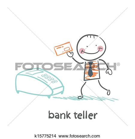 Clipart of bank teller with the apparatus k15775214.