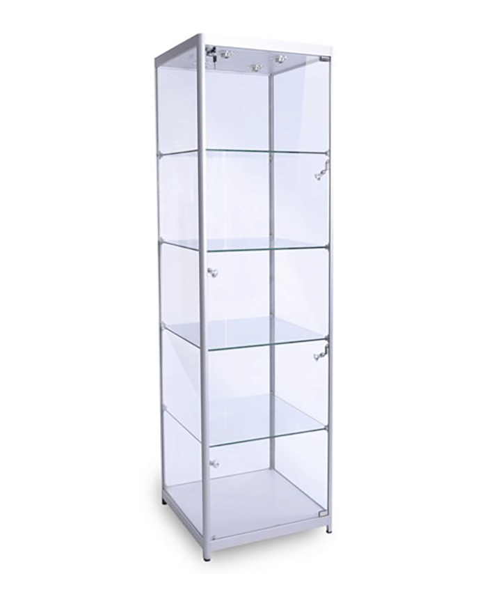500mm Square Full Glass Aluminium Cabinet.