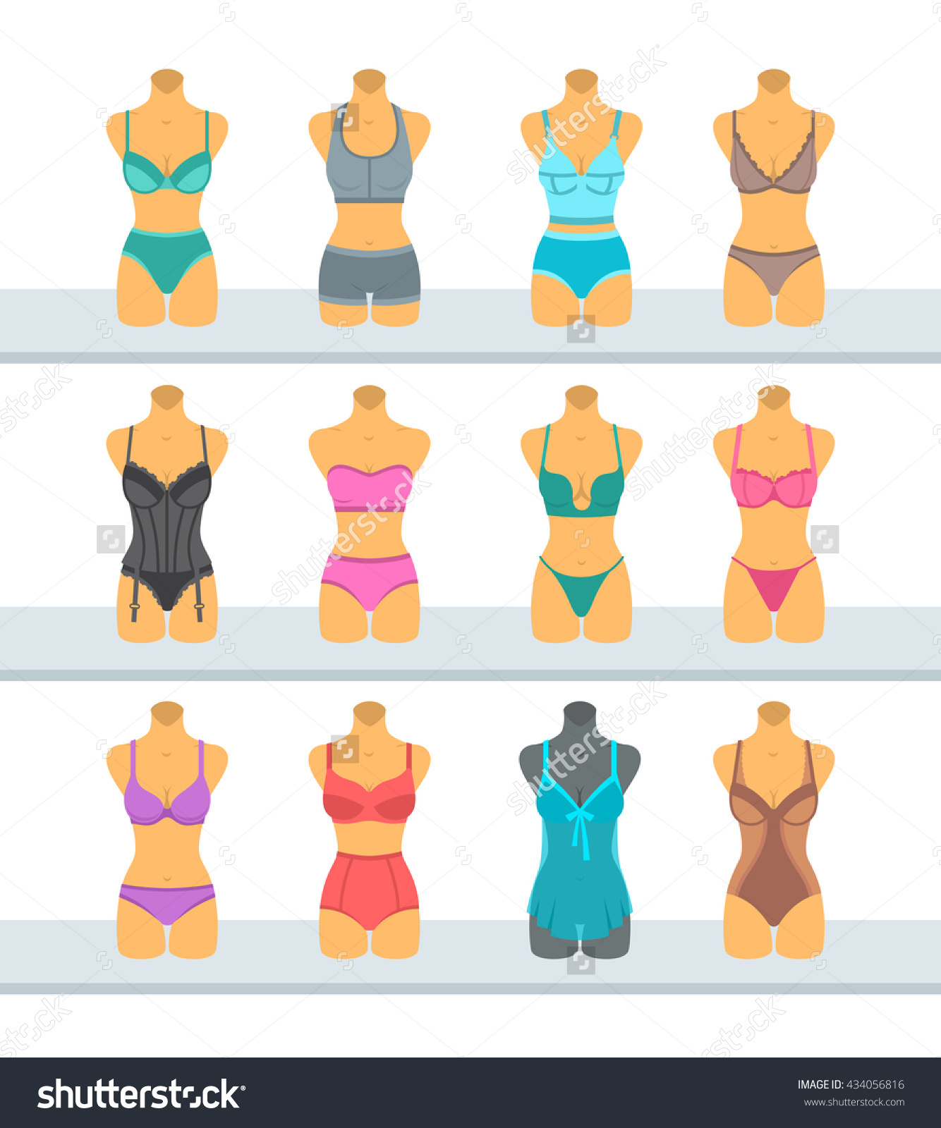 Female Mannequins Display Fashionable Lingerie Flat Stock Vector.