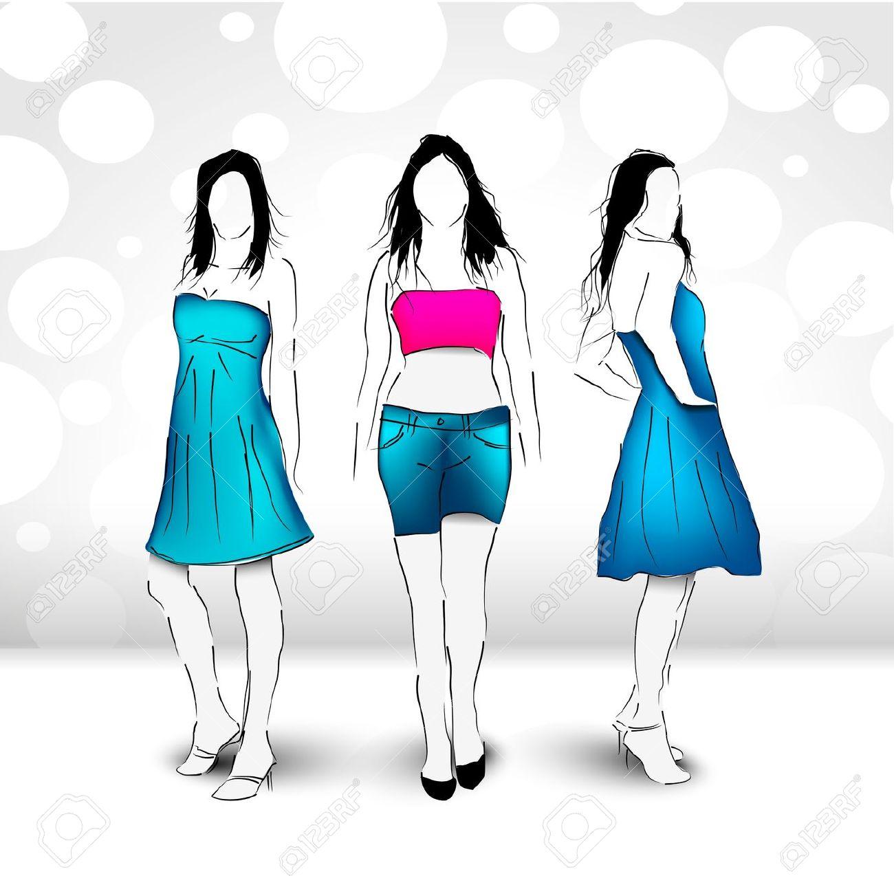 Fashion Women Vector Illustration Royalty Free Cliparts, Vectors.