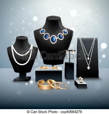 Vectors Illustration of Realistic Jewelry Display.