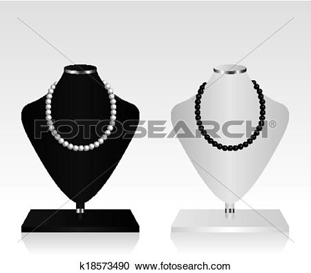 Clipart of Black and white mannequin jewelry k18573490.