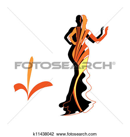 Clipart of Silhouette female mannequin and black iron hanger.