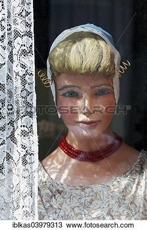 """Stock Photo of """"Display dummy in Dutch traditional costume in a."""