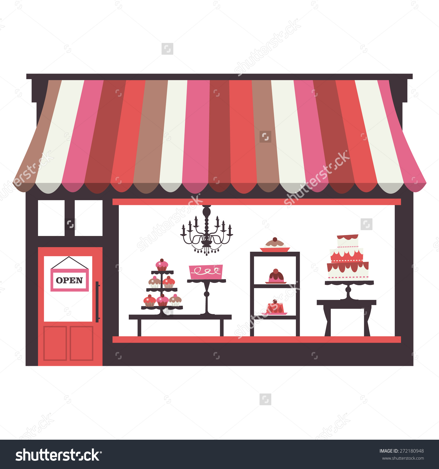 Chic Vector Illustration Cake Shopfront Large Stock Vector.