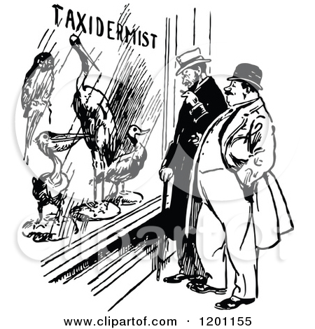 Clipart of Vintage Black and White Men at a Taxidermist Window.