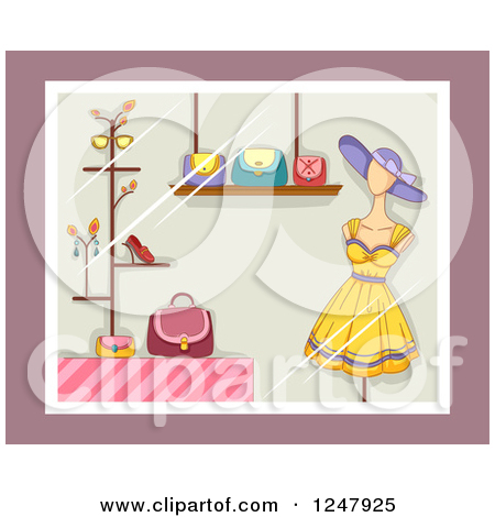 Clipart of a Store Window Display with Accessories and a Dress.