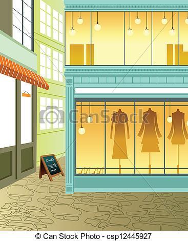 Vector Illustration of Window display in store csp12445927.