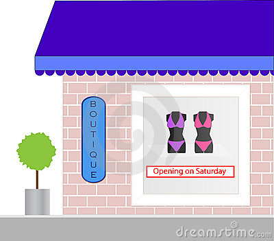 Store Front Boutique Window Display Royalty Free Stock Images.