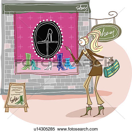 Stock Illustration of Woman looking at shoes displayed in store.