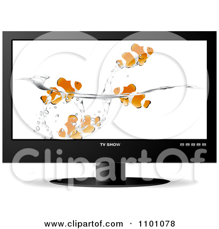 Clipart Ladybugs In Grass Displayed On A Lcd Television Screen.