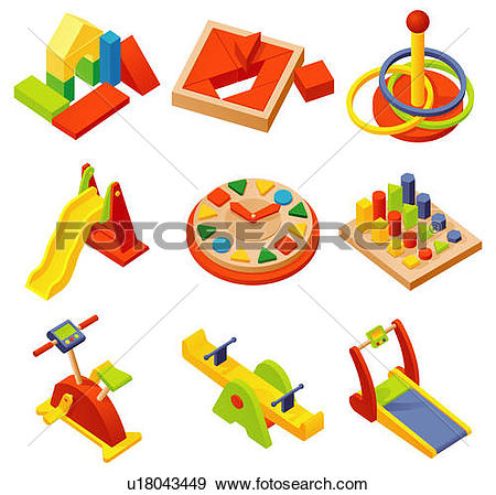 Stock Illustration of Various plastic toys displayed against white.