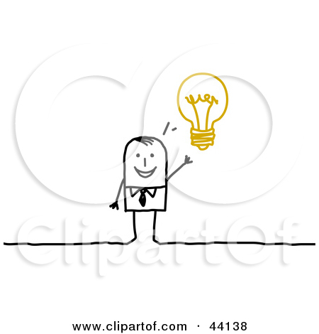 Clipart Illustration of a Smart Stick Businessman With An Idea.
