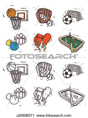 Clipart of Variation of sports equipment displayed in a row.