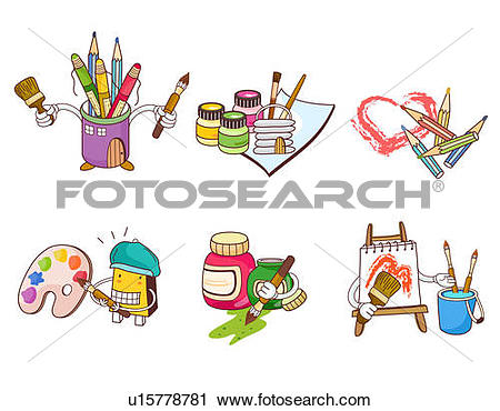 Clipart of Variation of colorful objects used for painting.