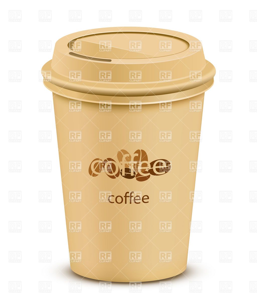 Plastic coffee cup with lid Stock Vector Image.