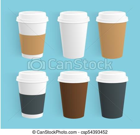 Vector set of disposable coffee cups. Realistic Paper coffee cups of  different colors isolated..