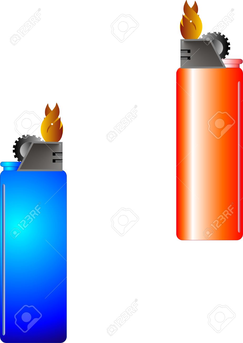 Blue And Red, Disposable Lighters That Are Lit, With Flame Burning.
