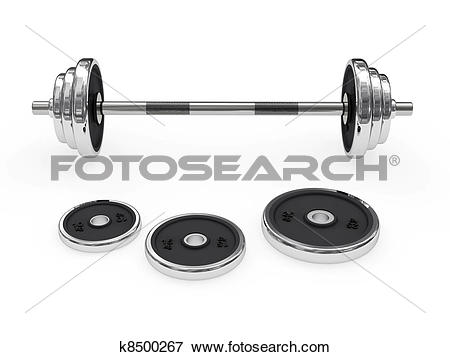 Stock Illustration of Weight barbell disposed horizontally.