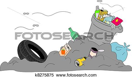 Clipart of Rubbish disposed improperly k8275875.