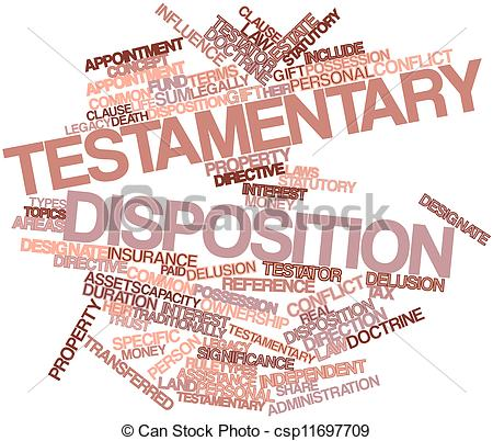 Stock Illustration of Word cloud for Testamentary disposition.