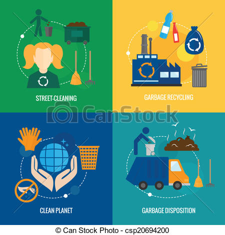 Vector Clipart of Garbage icons composition.