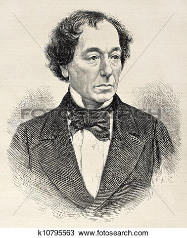 Drawing of Disraeli k10795563.