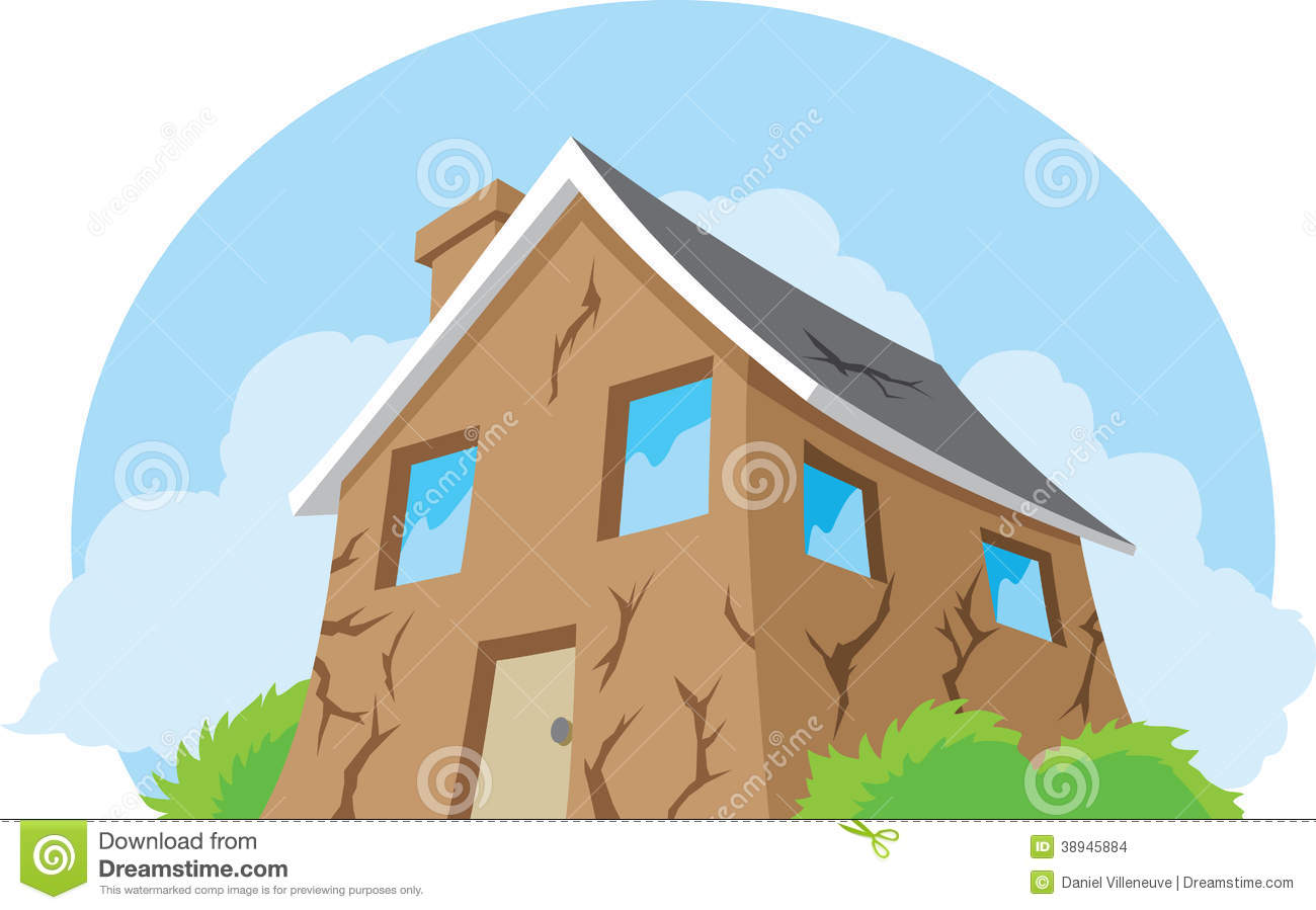House In Need Of Repair Stock Vector.