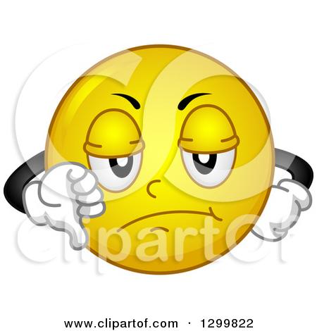 Clipart of a Cartoon Yellow Smiley Face Emoticon Giving a Thumb.