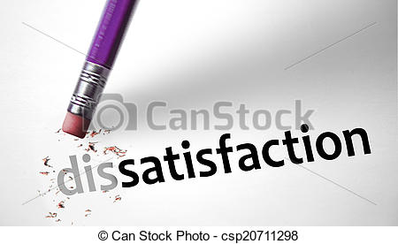 Stock Illustration of Eraser changing the word Dissatisfaction for.