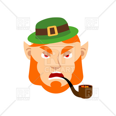 Dissatisfied leprechaun with red beard and pipe Vector Image.