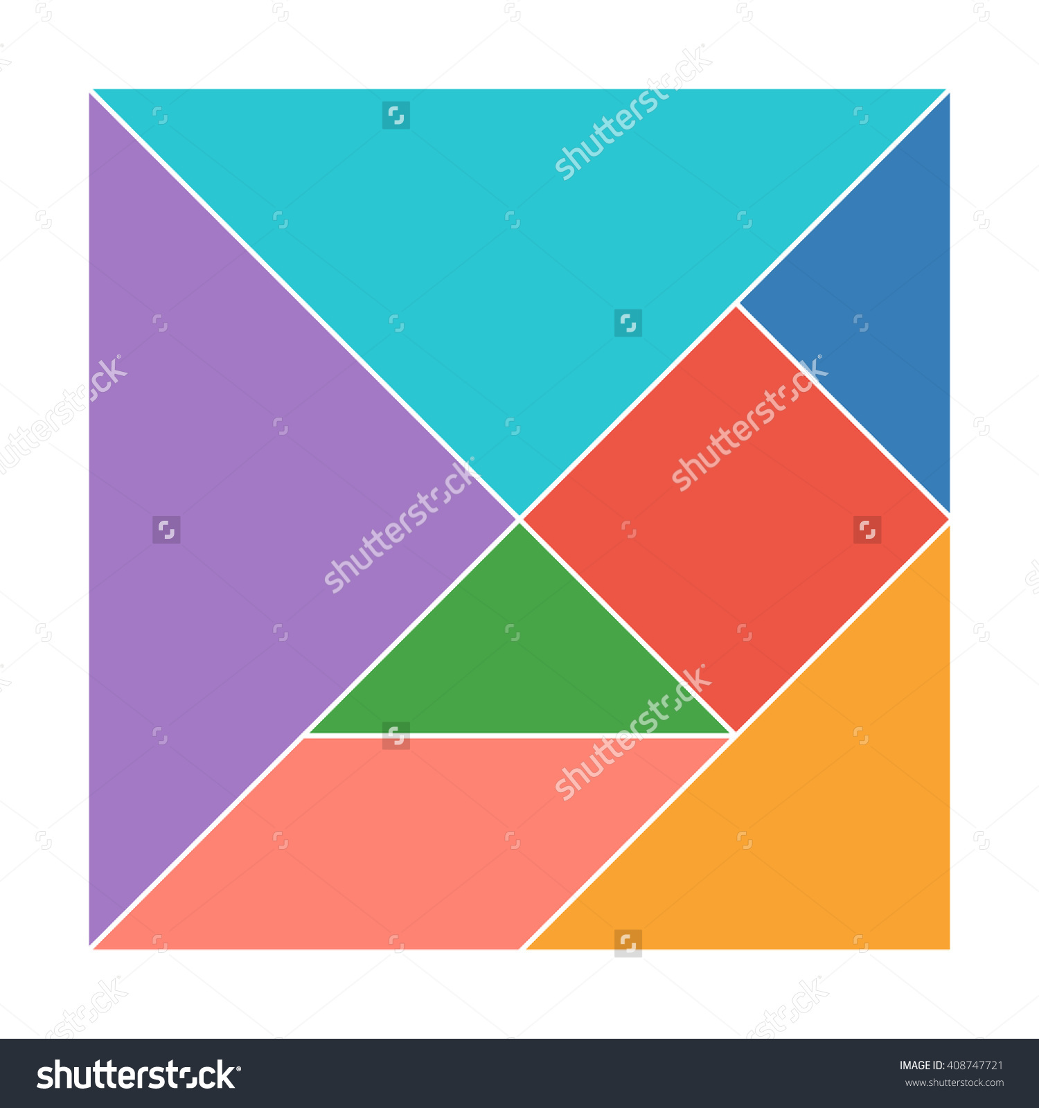 Tangram Square Traditional Chinese Dissection Puzzle Stock Vector.
