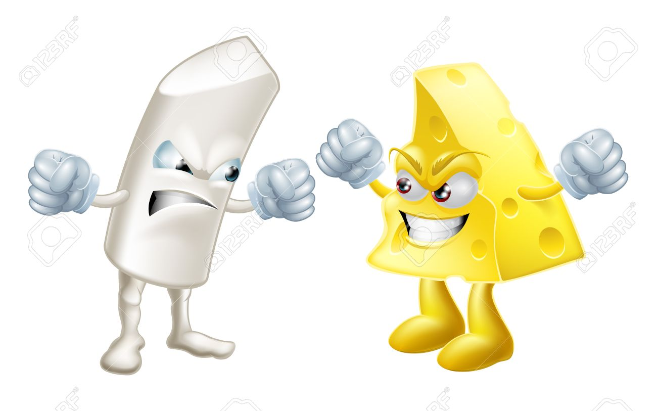 Chalk And Cheese Fighting Concept. Opposites Or Dissimilar Types.