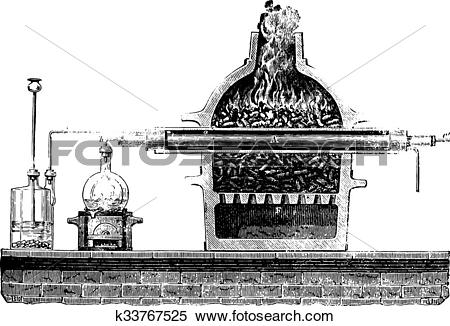 Clipart of Dissociation of water, vintage engraving. k33767525.