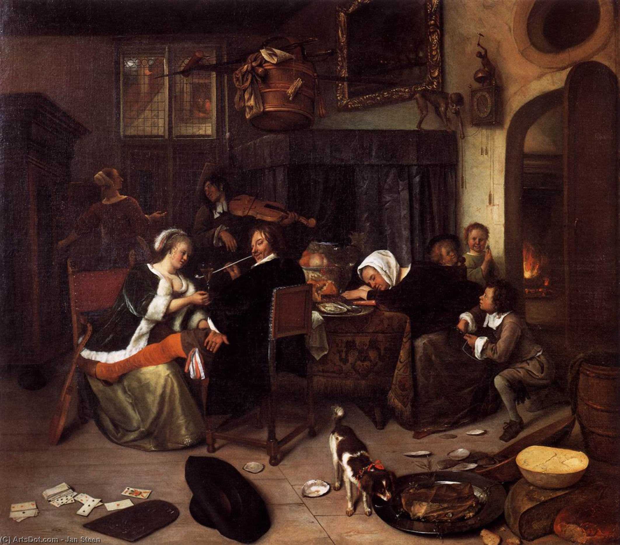 Dissolute Household, 1664 by Jan Steen (1626.