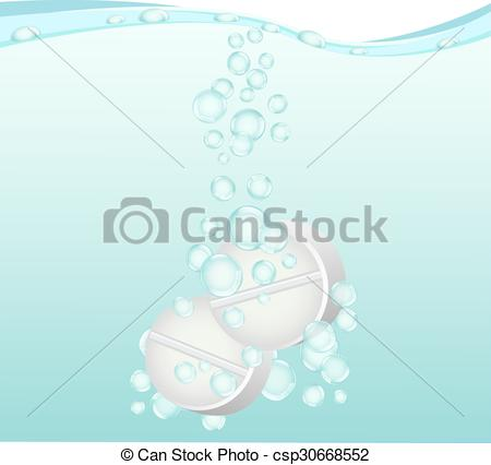 Clipart Vector of Tablets are dissolved in water.