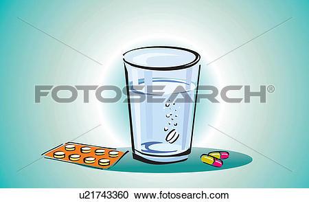 Stock Illustrations of Tablet dissolving in glass of liquid.