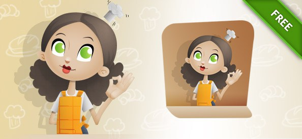Free Chef Girl Vector Character.