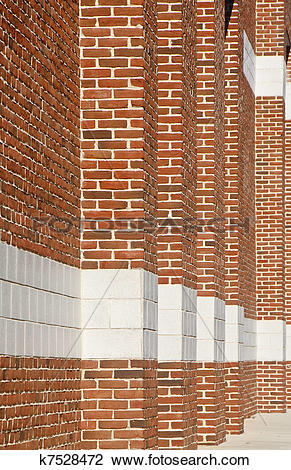 Stock Photo of Red Brick Columns into Distance k7528472.