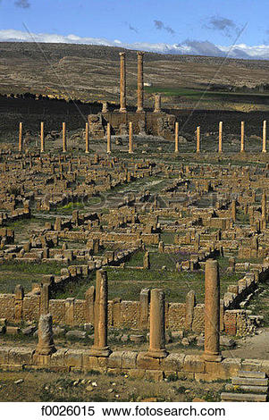 Stock Image of Algeria, Timgad, archaeological site, Capitol in.