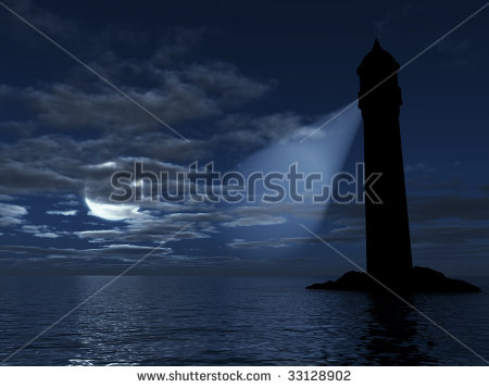 Lighthouse On An Island Lighting In Dark Distance On A Background.