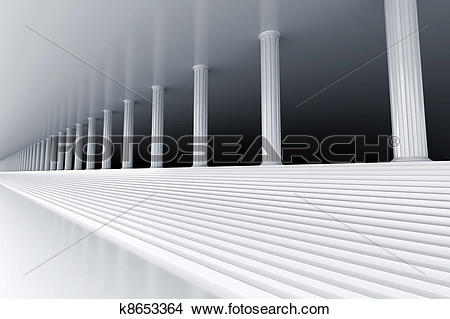 Drawings of white marble stair and row of columns vanishing in the.