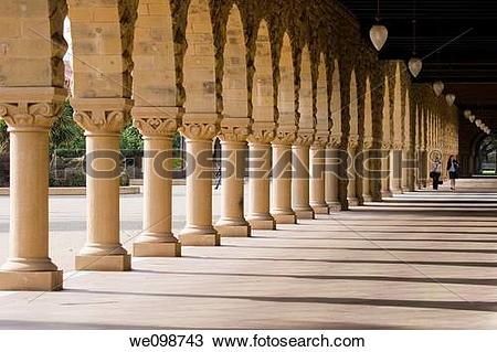 Stock Photo of Portico in the Main Quad of Stanford University.