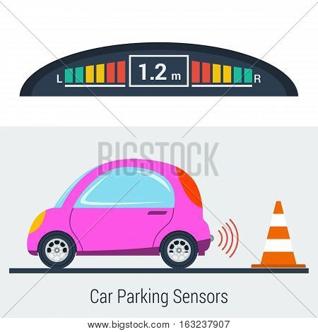 Vector flat illustration of parktronic concept. Small pink smart.