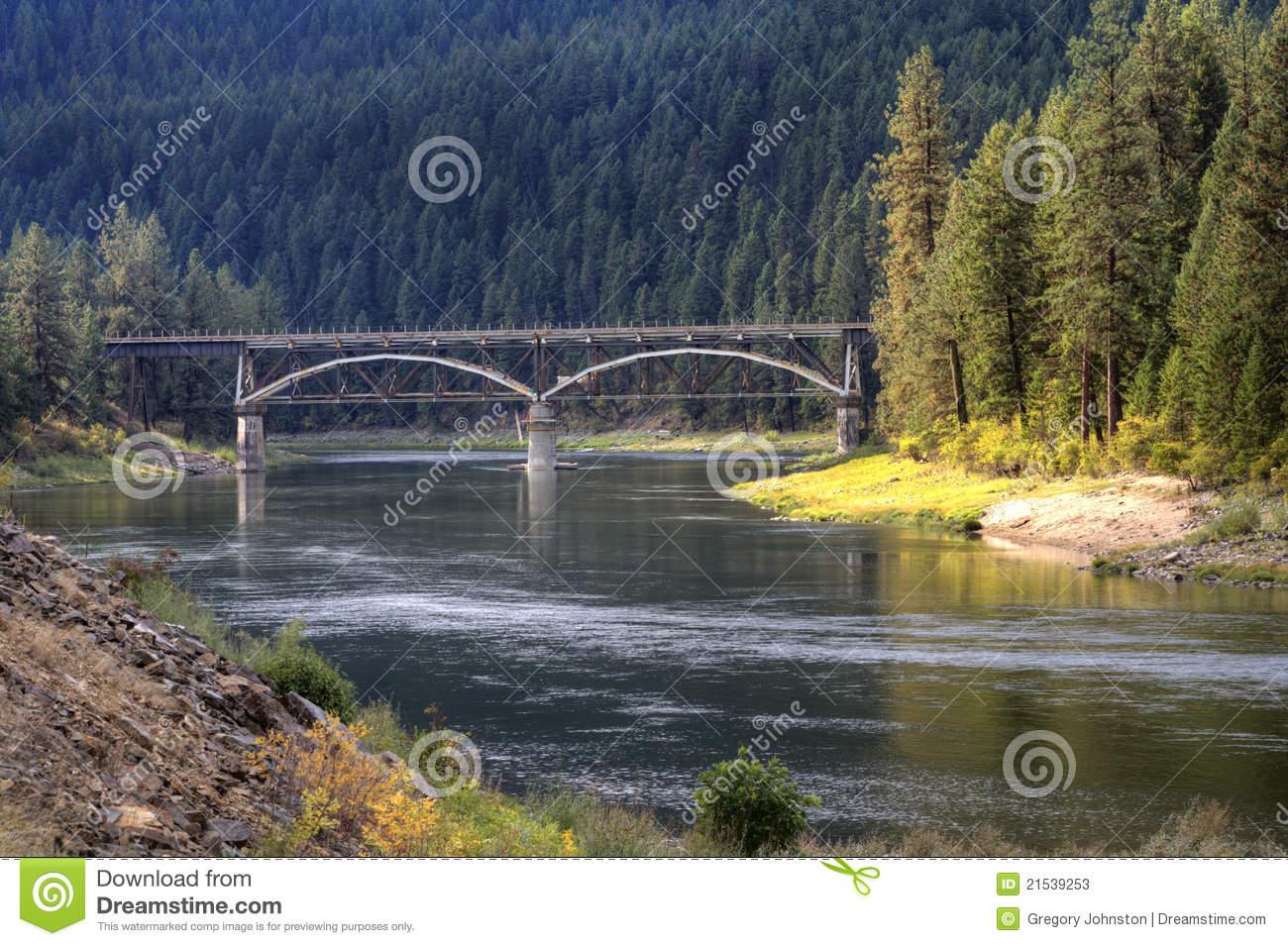 Bridge Over Flathead River. Stock Photos.